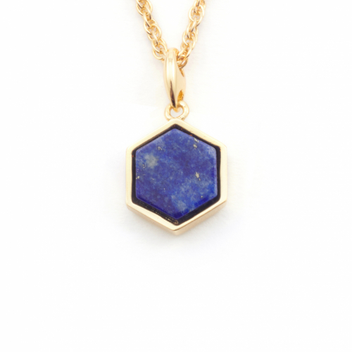 Filigree Hexagon Pendant Mini - Lapis