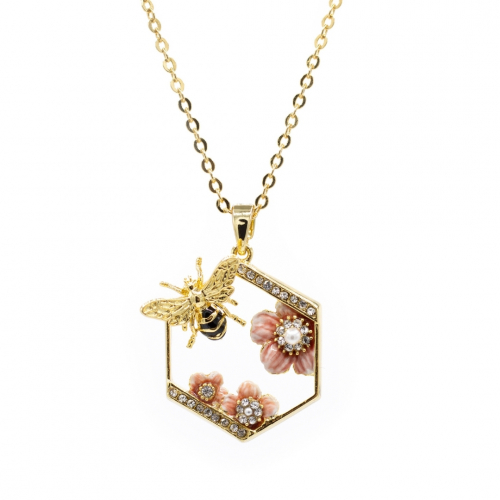 Rock Rose & Bee Pendant