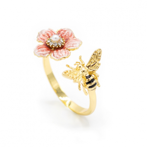 Rock Rose & Bee Open Ring