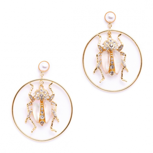 Bejewelled Beetle Hoops- Mother of Pearl