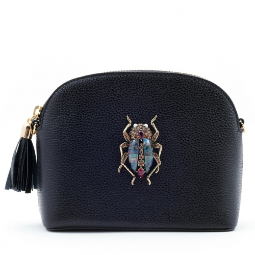 The Margot Bejewelled  Beetle Handbag - Black