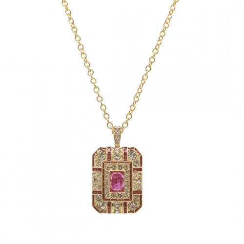 Art Deco Pendant - Gold/Pink