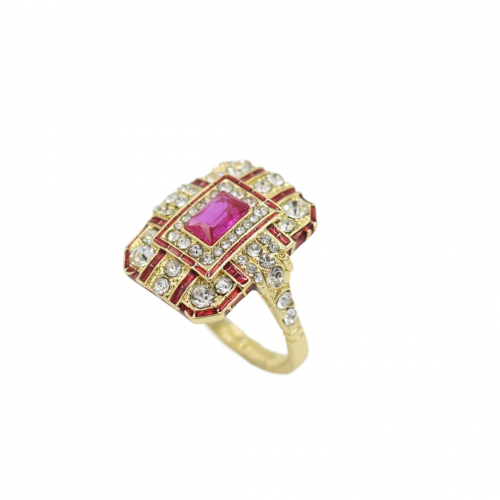 Art Deco Ring - Gold/Pink
