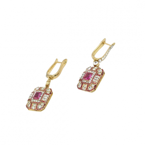 Art Deco Earring - Gold/Pink