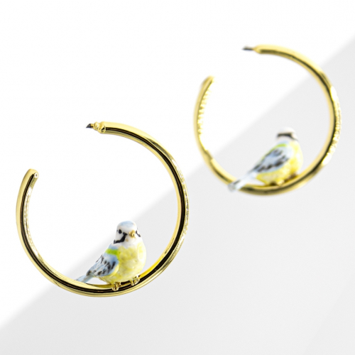 Blue Tit Hoop Earrings