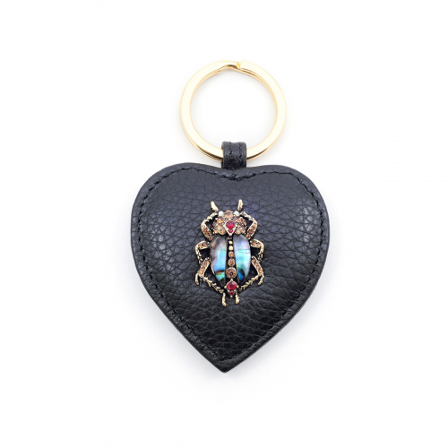 Bejewelled Beetle Leather Keyring