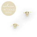 Alternate Image For Solid 14ct Gold Bee Studs