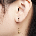 Alternate Image For Hexagon Bee Charm Drop Earring - Gold