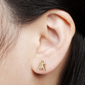 Alternate Image For Bee & Floral Mini Through Earrings - Gold