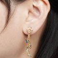 Alternate Image For Butterfly & Dragonfly Charm Earrings - Gold
