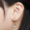 Alternate Image For Multi Butterfly Floral Drop Earring - Gold