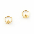 Alternate Image For Hexagon Bee Studs - Gold