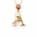 Alternate Image For Floral Initial Pendant - A