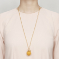 Alternate Image For Kitten with Wool Ball Pendant (Mustard) Gold