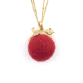 Alternate Image For Kitten with Wool Ball Pendant (Red)
