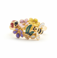 Alternate Image For Floral Bug Ring - Gold
