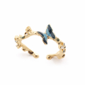 Alternate Image For Butterfly & Crystal Open Ring - Gold