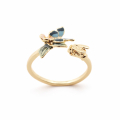 Alternate Image For Butterfly & Floral Open Ring - Gold