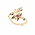 Alternate Image For Floral Dragonfly Open Ring - Gold