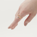 Alternate Image For Dragonfly Rose Open Ring - Gold