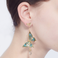 Alternate Image For Archive Butterfly & Crystal Drop Earrings