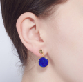 Alternate Image For Filigree Disc Stud Mini - Lapis