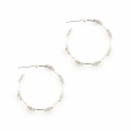 Alternate Image For Daisy Hoop Earrings - Rhodium