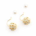 Alternate Image For Daisy & Pearl Through Earrings - Gold
