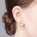 Alternate Image For Owl Drop Earrings - Gold