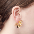 Alternate Image For Starburst Through Earring - Gold