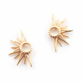 Alternate Image For Starburst Half Stud Earring - Gold