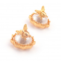 Alternate Image For Bee Pearl Filigree Earrings
