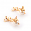 Alternate Image For Bee Pearl & Bow Earrings