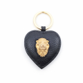 Alternate Image For Lion Leather Keyring - Black