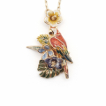 Alternate Image For Tropical Parrot Flower Pendant - Gold