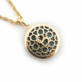 Alternate Image For Filigree Disc Pendant - Malachite