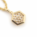 Alternate Image For Filigree Hexagon Pendant Mini - Mother of Pearl