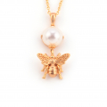 Alternate Image For Bee Pearl Drop Pendant
