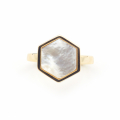 Alternate Image For Mini Filigree Hexagon Open Ring - Mother of Pearl
