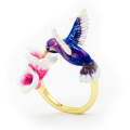 Alternate Image For Hummingbird & Flower Open Ring - Blue