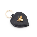 Alternate Image For Queen Bee Leather Keyring - Black