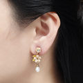 Alternate Image For Cherry Blossom Stone Statement Drop Earring - Gold