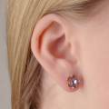 Alternate Image For Botanical Floral Earring - Rose Gold