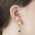 Alternate Image For Lion Crown Drop Earrings - Lapis