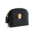 Alternate Image For Lion Leather Handbag - Black