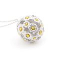 Alternate Image For Daisy Floral Ball Pendant - Rhodium