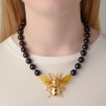 Alternate Image For Queen Bee Statement Necklace - Onyx