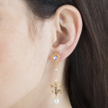 Alternate Image For Long Botanical Butterfly Drop Earring - Gold