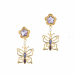 Alternate Image For Botanical Butterfly Mini Drop Earring - Gold