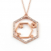 Alternate Image For Hexagon Bee Long Pendant - Rose Gold